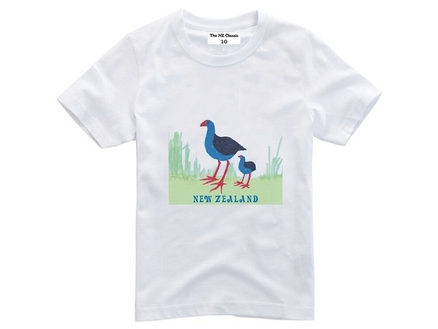 New Zealand Pukeko Kids T-shirt Size 10 White