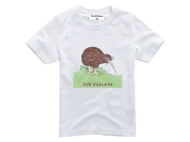 New Zealand Kiwi Kids T-shirt Size 6 White